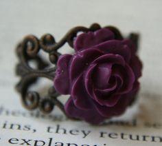 Gothic Rose Flower Ring Mini Violet Purple Fashion by SmashGardens, $10.00