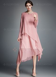 Polyester/Chiffon With Spliced Asymmetrical Dress Floryday Dresses, Evening Dresses, Fashion Dresses, Silk Midi Dress, Long Sleeve Midi Dress, Simple Dresses, Casual Dresses, Dress Brokat, Elisa Cavaletti