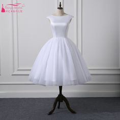 Find More Wedding Dresses Information about Short Cap Sleeves  Knee Length Scoop Neckline Simple Ball Gown Wedding Dresses Satin Tulle Natural Waist Bridal Dress New Style,High Quality bridal dress,China bridal dress styles Suppliers, Cheap ball gown wedding dresses from Tanya Bridal Store on Aliexpress.com