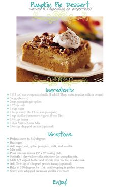 The Better Belle Project: Pumpkin Dessert Recipe!