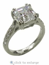 4 Carat Asscher Cut Double Prong Cathedral Pave Solitaire Ring