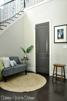 We were going to do brown stained doors, but then realized we'd have to buy new doors or do some serious sanding. I think I might be in love with the gray alternative since we are going with a gray color scheme throughout the house. I might be in love!