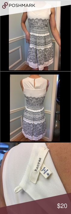 "Kanvas white dress with gray lace-look design Kanvas white dress with gray lace-look design. Has attached under slip. Model is 5'4"" and dress 👗 falls above the knee. Worn once for Easter 🐣 Kanvas Dresses"