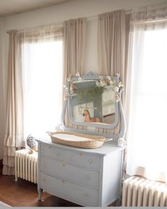 A Farmhouse Nursery Inspired by The Velveteen Rabbit – Project Nursery – Dresser Decor Nursery Dresser, Nursery Wall Decor, Nursery Room, Girl Nursery, Nursery Ideas, Princess Nursery, Pottery Barn Nursery, Bedroom Decor, Vintage Nursery Boy