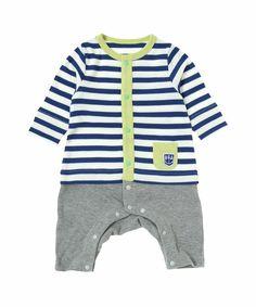 baby ampersand(ベビー アンパサンド)のレイヤード風ボーダーカバーオール(ロンパース)|ブルー