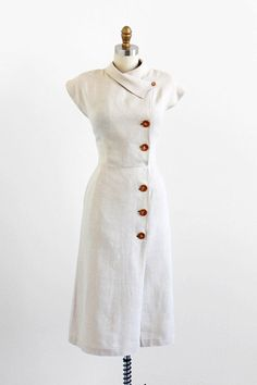 vintage 1940s dress / 40s dress / Natural Linen Wiggle Dress with Asymmetrical Collar: