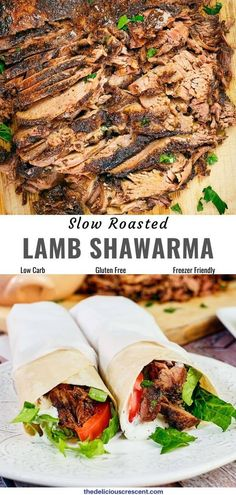Roast lamb shawarma is tender, aromatic, mouthwateringly delicious and with an authentic flavor that will take you on a trip to the middle east. Easy to make and to-die-for, this oven recipe with boneless leg of lamb marinated with a terrific spice blend is great for make ahead or even a Mediterranean party menu. Make pita filled sandwiches or wraps. The shawarma itself is low carb, gluten free and freezer friendly. Slow cooker option too. #shawarma #lambrecipes #middleeasternfood