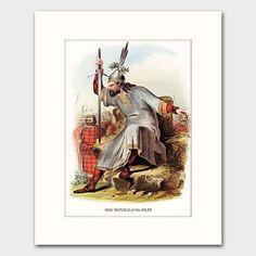 "Clan MacDonald of the Isles Family Art w/Mat, Vintage Victorian Era Scottish Highland's Dress Book Reproduction Print, Fierce Clan Chieftain Artwork by R.R. McIan (1803-1856) --- ""Clan MacDonald, Scotland"""