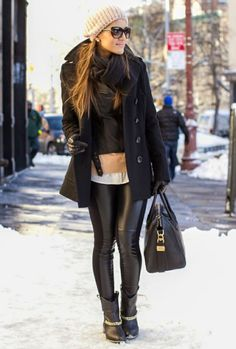 leather leggings & layers