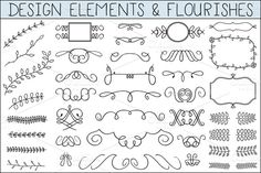 Flourishes ~~ Elegant hand drawn flourishes and other design elements are presented in 2 EPS8 files. Their JPG and PNG versions are included too.    Enjoy :)