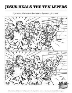 Luke 17 Ten lepers Kids Spot The Difference: Think these ten lepers illustrations look the same? You're going to want to take a second look! With the kind of playful fun your kids love, this ten lepers activity page is perfect for your upcoming Luke 17 Sunday school lesson.
