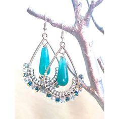 Large Bohemian Earrings aqua blue chandelier earrings drop dangle... ($19) ❤ liked on Polyvore featuring jewelry, earrings, long chandelier earrings, silver jewelry, boho jewelry, light blue earrings and natural stone jewelry