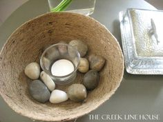 A bowl made out of just twine and white glue at The Creek Line House.