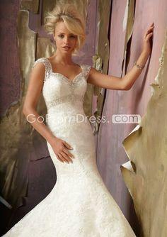 church mermaid lace queen anne Chapel Train wedding dress