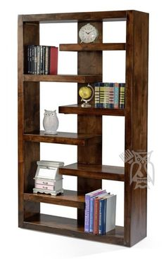 Alder Wood Sausalito 72 High Open Bookcase in Whiskey Finish - Diy Möbel Wood Projects For Beginners, Diy Wood Projects, Furniture Projects, Diy Furniture, Furniture Repair, Furniture Dolly, Furniture Online, Woodworking Furniture Plans, Wood Pallet Furniture