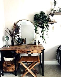 Rustic bedroom decor with brass mirror and greenery Wooden desk vanity boho mak. - - Best Home Decor ideas Western Bedroom Decor, Bedroom Rustic, Wood Writing Desk, Farmhouse Master Bedroom, Diy Bedroom, Bedroom Ideas, Design Bedroom, Master Bedrooms, Master Suite