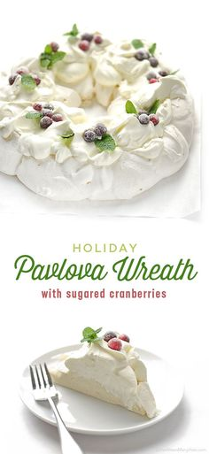 Pavlova is a meringue dessert with a delicate, crispy crunchy shell that hides a soft light, marshmallowy, almost custard-like inside and is traditionally served topped with whipped cream and fruit. Peanut Butter Desserts, Köstliche Desserts, Delicious Desserts, Dessert Recipes, Yummy Food, Plated Desserts, Holiday Baking, Christmas Baking, Diy Christmas