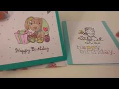2 Happy Birthday Cards using free stamps from Cardmaking and Papercraft magazine…
