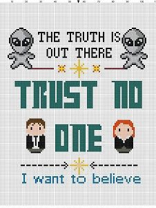 XFiles Sampler - Alien Modern Cross Stitch Pattern - Instant Download by…