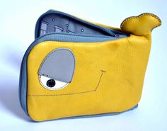 Items similar to Little Yellow and Grey Whale leather wallet, genuine leather, windows inside OOAK -made to order on Etsy Gray Whale, Leather Craft, Leather Wallet, Coin Purse, Lunch Box, Yellow, Grey, How To Wear, Bags