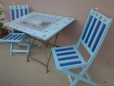 Old balcony table and chairs made in shabby chic and decoupage style
