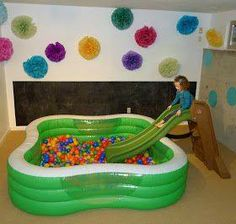 Blow up pool + slide + balls = AWESOME