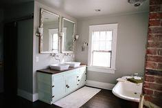 love the mint dresser turned vanity, hour tour via UndertheSycamore Small Bathroom, Bathroom Ideas, Bathrooms, Dresser Vanity Bathroom, Bathroom Mirrors, Mint Dresser, Basin Sink, Sinks, White Storage Cabinets