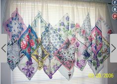 Ideas Shabby Chic Curtains Ideas Vintage Handkerchiefs For 2019 Fabric Crafts, Sewing Crafts, Sewing Projects, Handkerchief Crafts, No Sew Curtains, Quilted Curtains, Vintage Handkerchiefs, Linens And Lace, Vintage Embroidery