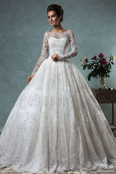 amelia sposa 2016 wedding dresses bateau neckline lace long sleeves beautiful ball gown wedding dress diana