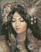 The Owl Maiden [STEGG1451] - $19.00 : Heaven And Earth Designs, cross stitch, cross stitch patterns, counted cross stitch, christmas stockings, counted cross stitch chart, counted cross stitch designs, cross stitching, patterns, cross stitch art, cross stitch books, how to cross stitch, cross stitch needlework, cross stitch websites, cross stitch crafts