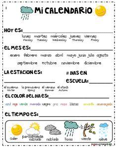 Calendar journal in english & spanish Mi Calendario Spanish Worksheets, Spanish Teaching Resources, Spanish Vocabulary, Spanish Activities, Spanish Language Learning, Spanish Games, Listening Activities, Vocabulary Games, Preschool Spanish Lessons
