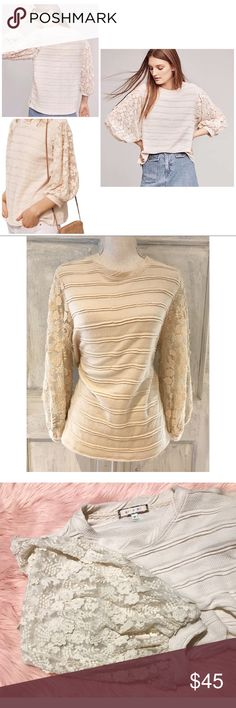 """EUC Anthro eri + ali Chelsea Lace Sleeves Sweater In great pre-loved condition striped lace sleeves pullover sweater from Anthropologie in size medium. No flaws. Super cute in person with blouson sleeves with 3-d appliqué floral on it. No flaws. Might fit a large too since it fits more oversized. Measure approximately about 25"""" length, 21"""" length, 20"""" sleeves. More off white color than cream. ❌No trades or modeling. Always open to reasonable offers. Bundle more items together to save more…"""