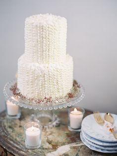 Pretty little ruffled cake! More Wedding Inspiration here: http://www.StyleMePretty.com/2014/05/20/styled-shoot-full-of-romance-whimsy-in-portland-oregon/  Photography: BunnSalarzon.com & TaraFrancisPhotography.com - Cake: LeCookieMonkey.com - #SMP