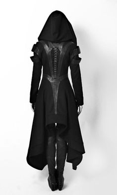 Buy Cool Women Cosplay Coat Irregular Hooded Leather Patchwork Tops Cosplay Avant Long Coat Gothic Ninja Hero Clothing Warm Sexy Black Cape Coat Sweater Plus Size at Wish - Shopping Made Fun Moda Rock, Medieval Dress, Medieval Clothing, Winter Fashion Outfits, Outfit Winter, Dress Winter, Holiday Outfits, Party Outfits, Fashion Clothes
