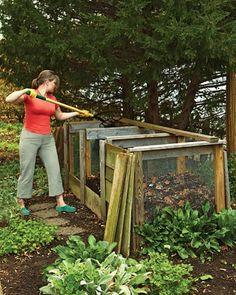 "Will convince my husband to build one of these some day! The 3 sections are perfect, so there's always compost ready to be usee, some ""working"" and then a bin to add to"