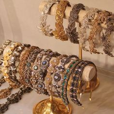 Deepa Gurnani Crystal Shira Headpiece In Silver, Black or Gold