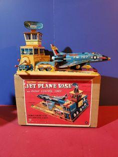 1960s Toys, Retro Toys, Vintage Toys, Vintage Modern, Airplane Toys, Space Toys, Jet Plane, Tin Toys, Metal Tins