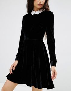 Buy Oh My Love Velvet Skater Dress With Lace Collar at ASOS. Get the latest trends with ASOS now. Velvet Skater Dress, Blue Velvet Dress, Normcore Fashion, Winter Dresses, Winter Clothes, Asos, Lace Collar, Fashion Online, Lace Dress