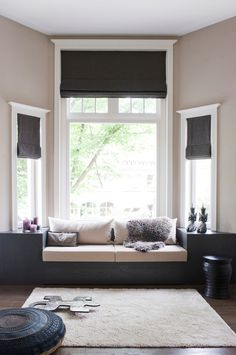 drapes for bay window in Family Room Scandinavian with Built-In Window Seat…