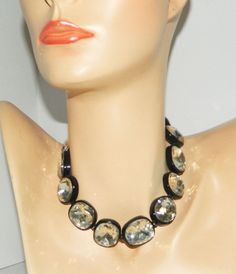 """Vintage Huge Faceted Glass Rhinestone Collar Necklace 16"""" Statement Piece #Unbranded #Collar"""