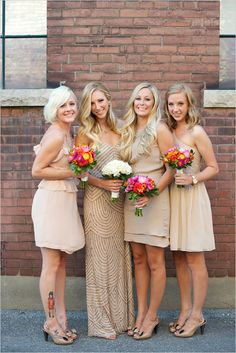 Sparkle dress for the bride and matching gold hued dresses for the bridesmaids
