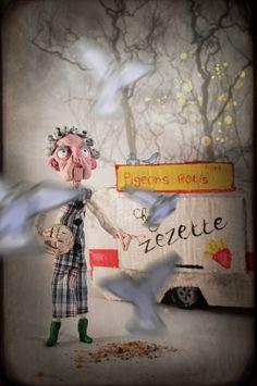 La Dame Aux Pigeons de Olivier Merlin sur Art Limited