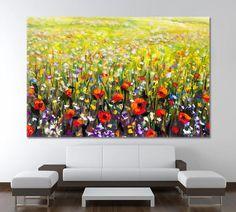 Poppy Poppy Painting Poppy Wall Art Van Gogh Wall Art Painting On Canvas Poppy Art Poppy Print Red Poppy Green Field Art Red Art by ArtWog Tree Canvas, Canvas Wall Art, Canvas Prints, Art Van, Office Wall Art, Office Decor, Jesus Painting, Thing 1, Red Art