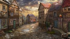 Poor's Neighbourhood by Lemonushka medieval street city town smith inn restaurant landscape location environment architecture | Create your own roleplaying game material w/ RPG Bard: www.rpgbard.com | Writing inspiration for Dungeons and Dragons DND D&D Pathfinder PFRPG Warhammer 40k Star Wars Shadowrun Call of Cthulhu Lord of the Rings LoTR + d20 fantasy science fiction scifi horror design | Not Trusty Sword art: click artwork for source