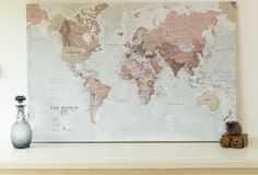 18 best World Wall Maps images on Pinterest   Wall maps  World maps     A Splendid wall map art of the world in muted tones