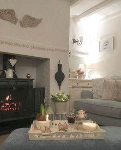 Wishing you all a lovely weekend , time to relax Cottage Lounge, Cottage Living Rooms, Cottage Interiors, Home Living Room, Living Room Decor, Living Room Inspiration, Interior Design Inspiration, Shabby Chic Furniture, Home Furniture