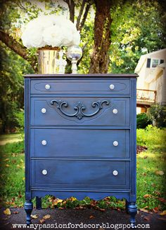 I have an oak dresser that i want to refinish in this color for the spare bedroom--LOVE it! Kona stain, Napoleonic Blue, dark wax.