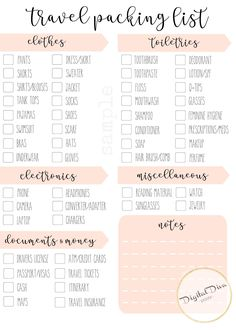 travel checklist Travel Packing List Typography and Illustration Instant Travel Packing Checklist, Travel Bag Essentials, Packing List For Vacation, Road Trip Essentials, Travelling Tips, Travel List, What To Pack For Vacation, Packing Hacks, Vacation Checklist