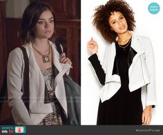Aria's animal print romper and white jacket on Pretty Little Liars.  Outfit Details: https://wornontv.net/49934/ #PLL
