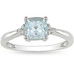 Miadora 10k White Gold Aquamarine and Diamond Ring   Overstock.com Shopping - Top Rated Miadora Gemstone Rings